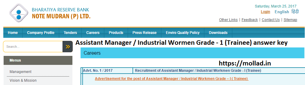 BRBNMPL Asstt Manager / Industrial Workmen answer key