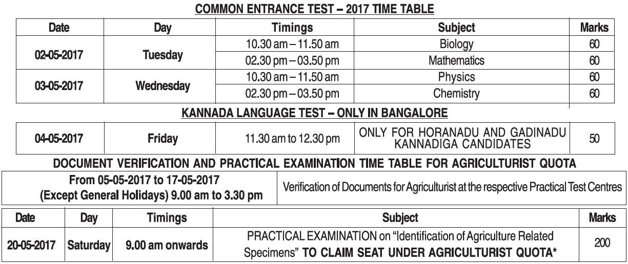 CET 2017 exam dates