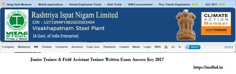 RINL VSP Junior trainee answer key
