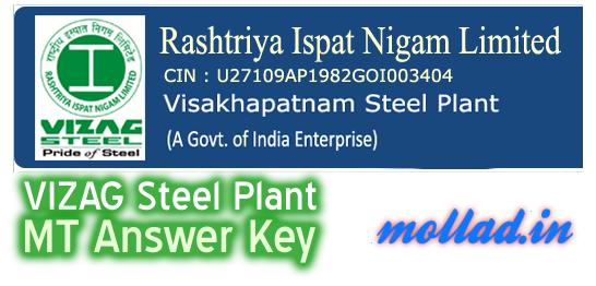 VIZAG Steel MT answer key