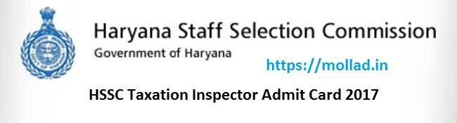 HSSC Taxation Inspector Admit Card
