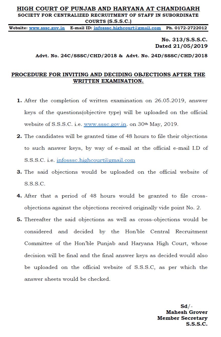 Chandigarh High Court Clerk Answer Key