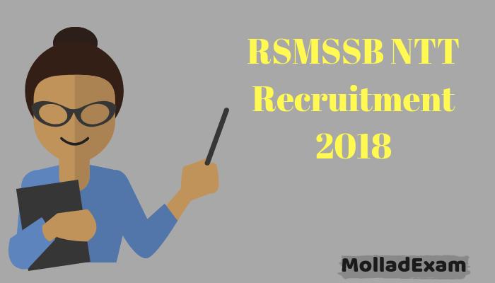 RSMSSB NTT Admit Card 2018 Rajasthan Pre Primary Teacher Exam Date 1