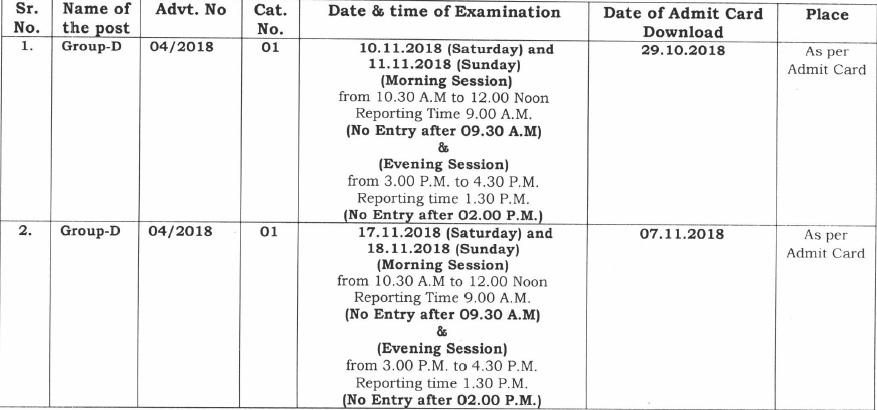 HSSC Group D Admit Card 2018 Haryana Group D Exam Date 1
